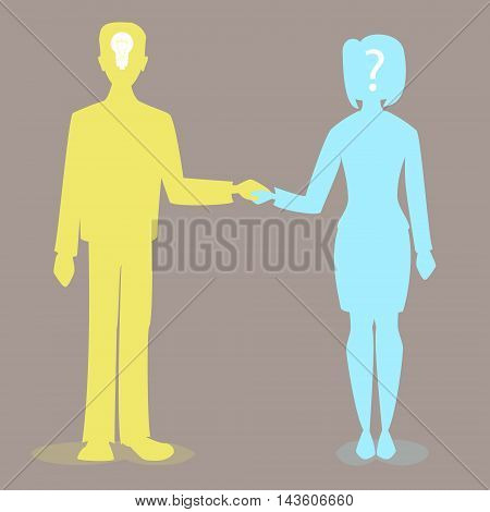 man and woman holding hands question the idea together