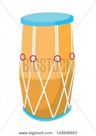 Traditional african drum. Big ethnic drum vector flat design illustration isolated on white background.