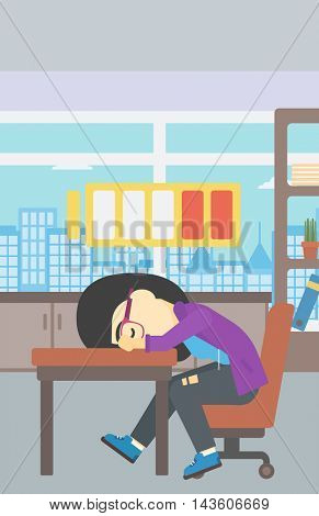 An asian woman sleeping at workplace on laptop keyboard and low power battery sign over her head. Business woman sleeping in office. Vector flat design illustration. Vertical layout.