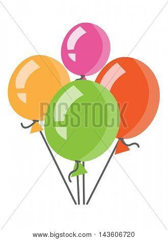 Colourful birthday or party balloons vector flat design illustration isolated on white background.