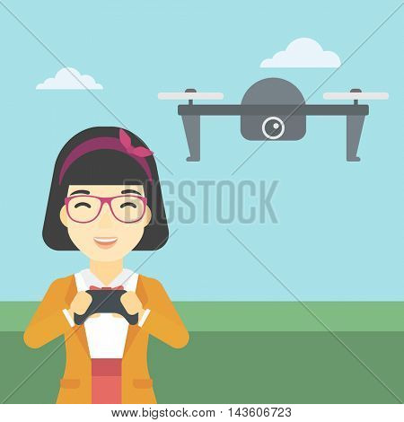 An asian woman  flying drone with remote control. Happy woman operating a drone with remote control. Woman controling a drone. Vector flat design illustration. Square layout.