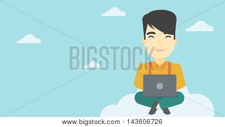 An asian man sitting on a cloud with a laptop on his knees. Happy man using cloud computing technology. Cloud computing concept. Vector flat design illustration. Horizontal layout.