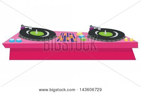 DJ turntable console mixer vector flat design illustration isolated on white background.