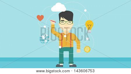 An asian man writing on a virtual screen. Businessman drawing a cloud computing diagram on a virtual screen. Cloud computing concept. Vector flat design illustration. Horizontal layout.