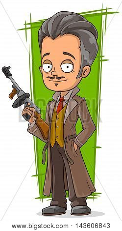 A vector illustration of cartoon smart detective in coat