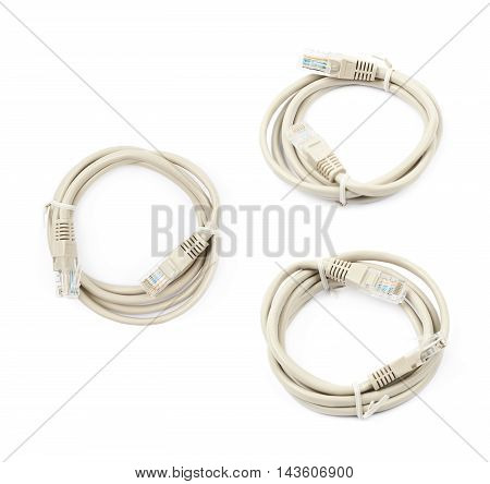 Folded ethernet cable isolated over the white background, set of three different foreshortenings