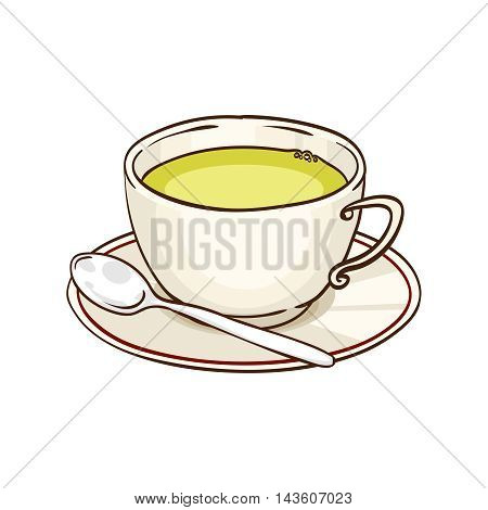 Cup of green tea with saucer and teaspoon. Vector hand drawn illustration, isolated on white