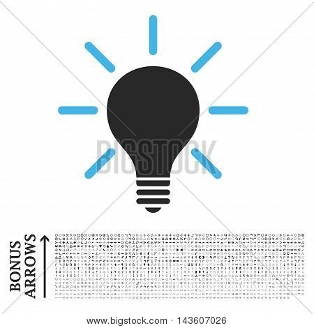 Light Bulb icon with 1200 bonus arrow and direction pictograms. Glyph illustration style is flat iconic bicolor symbols, blue and gray colors, white background.