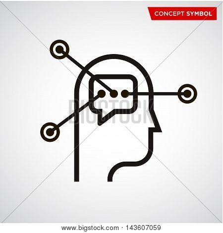 human head bubble elements vector icon. psychology science