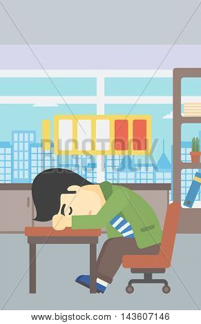 An asian man sleeping at workplace on laptop keyboard and low power battery sign over his head. Man sleeping in the office. Vector flat design illustration. Vertical layout.
