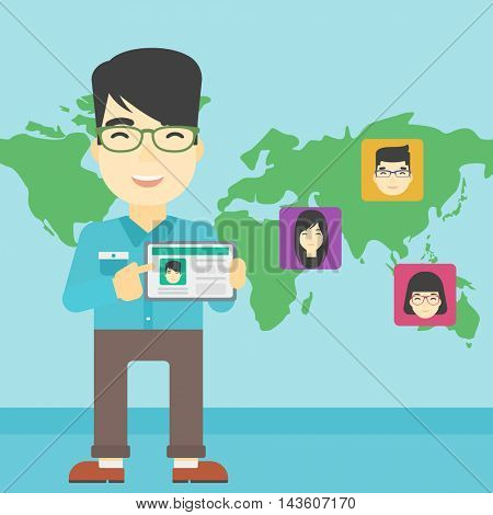An asian man holding tablet computer with social network user profile on a screen on the background of map with avatars of social network. Vector flat design illustration. Square layout.