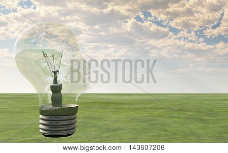 Light bulb in form of human head looks out over landscape 3D Render
