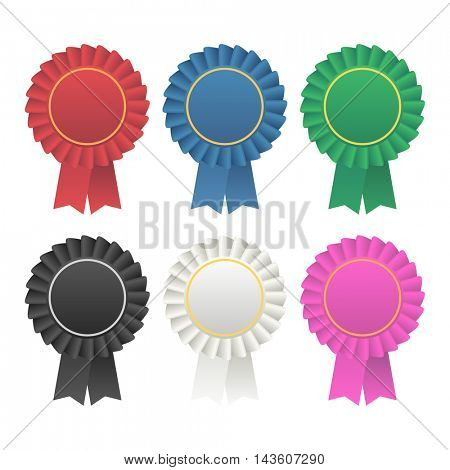 Vector rosette award ribbon medallion. Ribbon rosette badge vector icon illustration