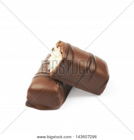 Composition of two chocolate confection candies isolated over the white background