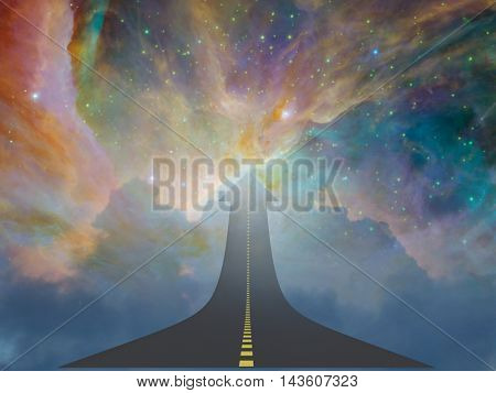 Highway to space in arrow shape 3D Render Elements of this image furnished by NASA