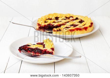 Homemade Berry Pie With Cherries And Raspberries