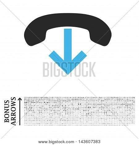Phone Hang Up icon with 1200 bonus arrow and direction pictograms. Glyph illustration style is flat iconic bicolor symbols, blue and gray colors, white background.