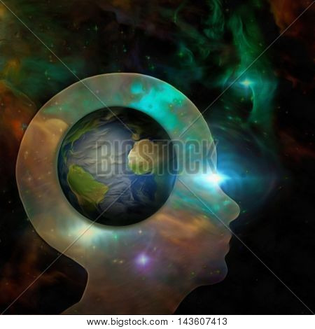Earth mind 3D Render Elements of this image furnished by NASA