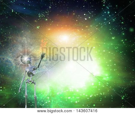 Alien bringing light in universe 3D Render Elements of this image furnished by NASA