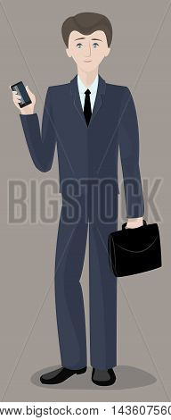 Man businessman office worker standing with phone and briefcase