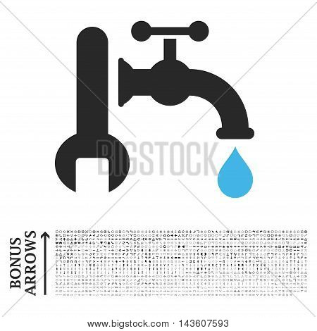 Plumbing icon with 1200 bonus arrow and direction pictograms. Glyph illustration style is flat iconic bicolor symbols, blue and gray colors, white background.