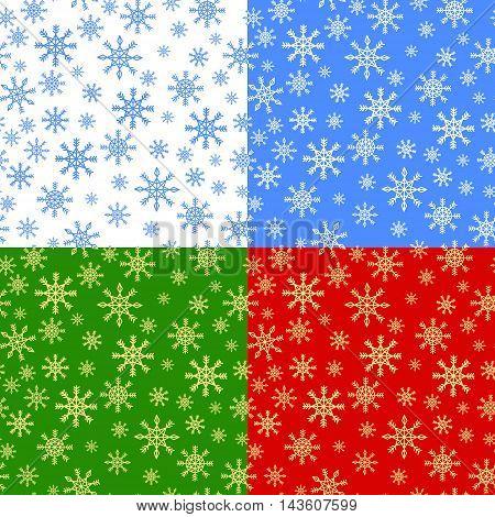 seamless texture set christmas snowflakes red green white blu