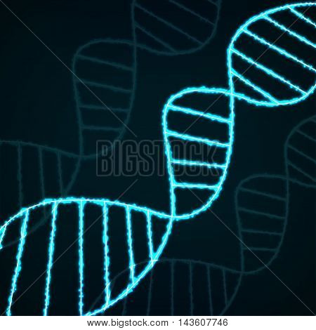 Abstract spiral of DNA neon molecular chain