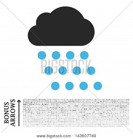 Rain Cloud icon with 1200 bonus arrow and direction pictograms. Glyph illustration style is flat iconic bicolor symbols, blue and gray colors, white background.
