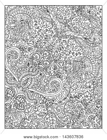 Beautiful graphic background with floral linear pattern for adult coloring book. Vector vintage ornament in black and white. Abstract hand drawn doodle illustration