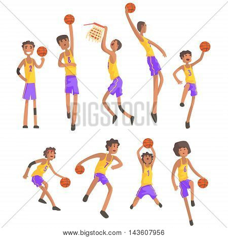 Basketball Players Of Same Team Action Stickers. Childish Cartoon Characters In Cute Design Isolated On White Background