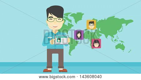 An asian man holding tablet computer with social network user profile on a screen on the background of map with avatars of social network. Vector flat design illustration. Horizontal layout.