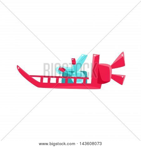 Flat Bottom Speed Toy Boat Bright Color Icon In Simple Childish Style Isolated On White Background