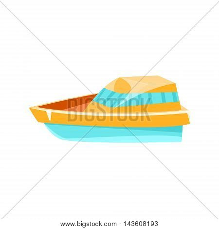 Cutter Toy Boat Bright Color Icon In Simple Childish Style Isolated On White Background
