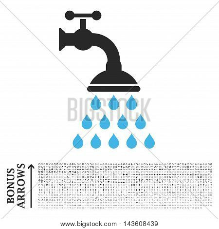 Shower Tap icon with 1200 bonus arrow and direction pictograms. Glyph illustration style is flat iconic bicolor symbols, blue and gray colors, white background.