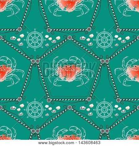 Seamless pattern  with crabs and nautical accessories on aquamarine background. Vector  marine ornament.