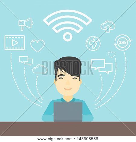 An asian man working on a laptop and social computer network icons above him. Vector flat design illustration. Square layout.