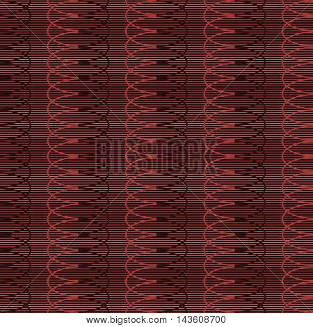 Seamless pattern of horizontal parallel straight lines and multiply repeating elliptical shapes. Entangled geometric ornament in black and red colors. Vector illustration for fabric, paper and other