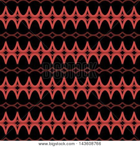 Elegant seamless pattern in black and red colors. Horizontal rows of repeating arched elements forming beautiful ornament. Vector illustration for various creative projects