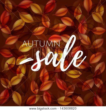 Falling Orange Leaves On Dark Background. Autumn Sale . Web Banner Or Poster For E-commerce, On-line