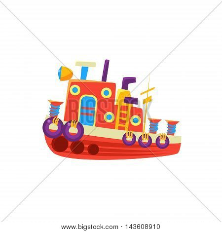 Steamer Fishing Toy Boat Bright Color Icon In Simple Childish Style Isolated On White Background