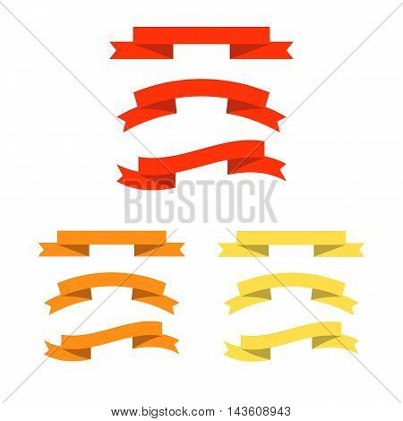 Vector ribbons, banners, streamers set different colors