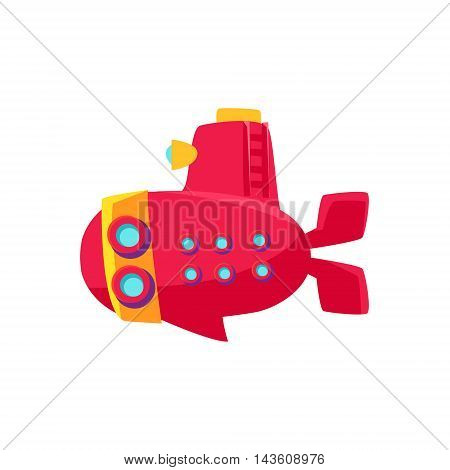 Red Submarine Toy Boat Bright Color Icon In Simple Childish Style Isolated On White Background