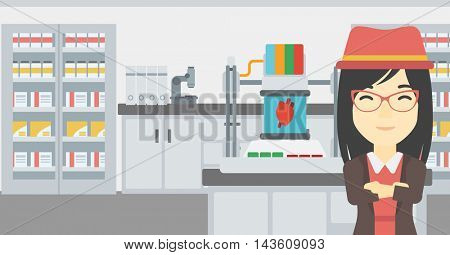 An asian young woman with 3D printer making a heart on the background of laboratory. Woman working with 3D printer. Vector flat design illustration. Horizontal layout.