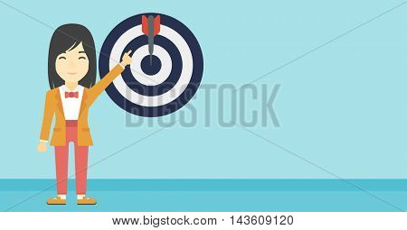 An asian young business woman pointing at arrow in a target board. Concept of achievement of business goal. Vector flat design illustration. Horizontal layout.