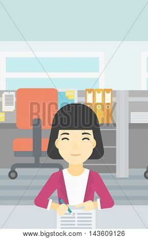 An asian young woman signing business documents in office. Woman is about to sign a business agrement. Confirmation of business transaction. Vector flat design illustration. Vertical layout.