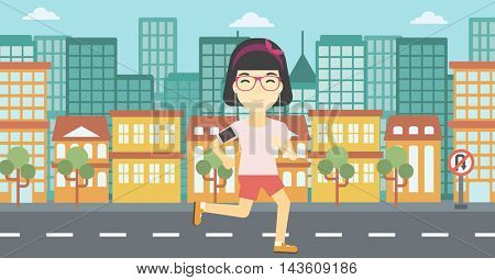 An asian woman running with earphones and armband for smartphone. Woman listening to music during running. Woman running in the city. Vector flat design illustration. Horizontal layout.