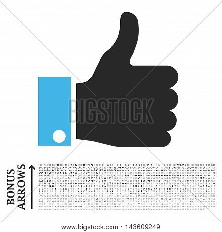 Thumb Up icon with 1200 bonus arrow and direction pictograms. Glyph illustration style is flat iconic bicolor symbols, blue and gray colors, white background.