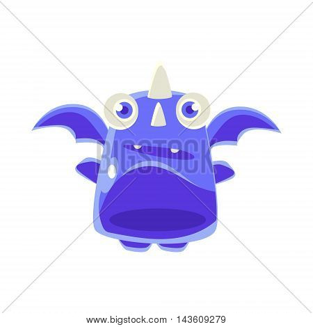Cute Jelly Toy Blue Dragon Icon Bright Glossy Drawing In Fantastic Childish Style Isolated On White Background