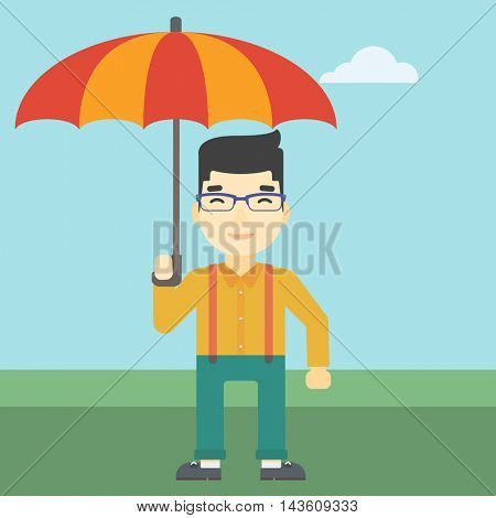 An asian businessman standing with open umbrella on the background of blue sky. Businessman under open umbrella. Happy man with umbrella. Vector flat design illustration. Square layout.