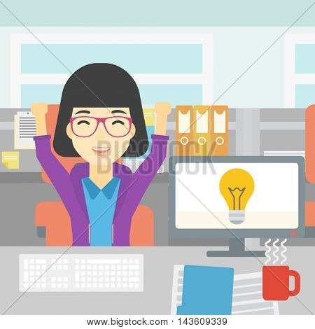 An asian business woman with arms up having business idea. Woman working on a computer with business idea bulb on a screen. Business idea concept. Vector flat design illustration. Square layout.